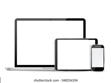 Set of realistic laptop, tablet and mobile phone with empty  screen.