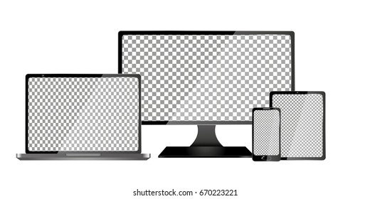 Set of realistic laptop, tablet and mobile phone with empty screen. Isolated on transparent background.