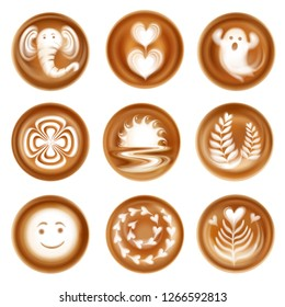 Set of realistic latte art images compositions from hearts and leaves ghost and elephant isolated vector illustration