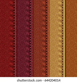 Set of realistic leather textures with seams. Leather backgrounds of different brown shades. Vector illustration