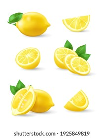 Set of realistic lemon with green leaf, whole and sliced, sour fresh fruits, bright yellow peel, lemons vector illustration isolated on white background. Juicy ripe citrus collection.