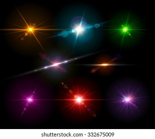 Set of realistic light glare, highlight. Collection of beautiful bright lens flares of  different colors. Lighting effects of flash. Vector illustration.
