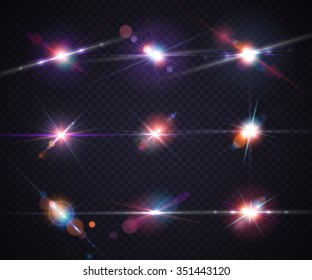 Set of realistic light glare, highlight. Collection of beautiful bright lens flares. Lighting effects of flash. Vector illustration.