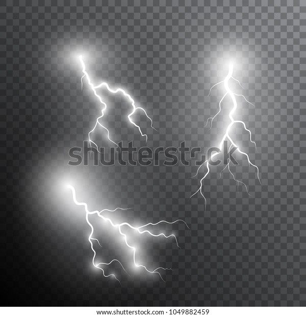 Set Realistic Lightning Bolts Transparent Light Stock Vector