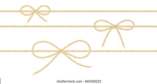 A set of realistic linen string bows. Vector illustration of different types of ribbons and linen string patterns.