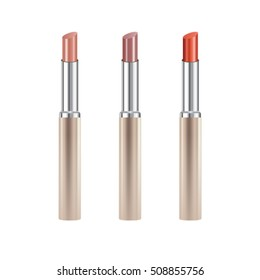 Set of realistic lipsticks with reflection isolated on white background, mock up, vector illustrator