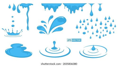 set of realistic liquid ripples or ripple water raindrop isolated or natural water splash capillary wave. eps vector