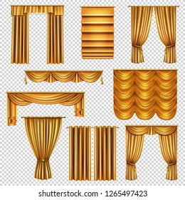 Set of realistic luxury curtains of gold fabric on cornices isolated on transparent background vector illustration