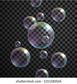 Set of realistic macro air bubbles isolated on transparent background. Vector illustration.