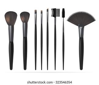 Set of Realistic Make Up Brushes Isolated on white background. Vector illustration