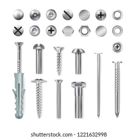 Set of realistic metal fastening items screws bolts nuts nails isolated on white background vector illustration