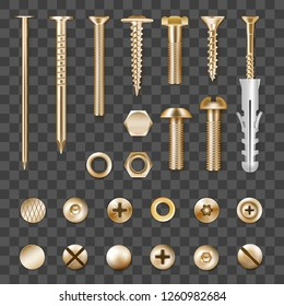 Set of realistic metal golden fasteners isolated on transparent background vector illustration