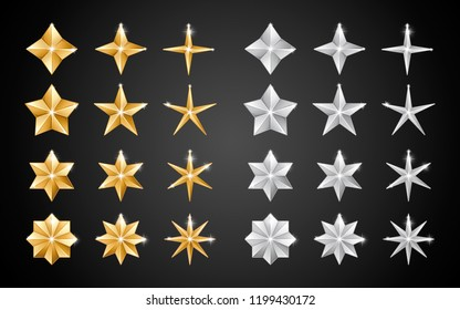Set of realistic metallic golden and silver stars of different shapes isolated on a black background