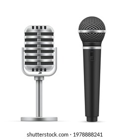 Set of realistic microphones vector illustration. Professional or amateur music studio sound equipment reproduce isolated. Mic media for karaoke, concert, live sign or recording audio broadcasting
