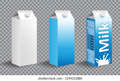 Set of realistic milk carton package. Milk package design with different labels isolated. Dairy product for branding. vector illustration