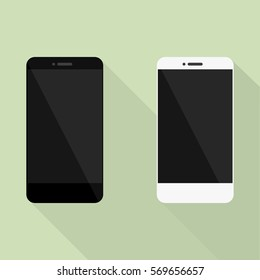 Set of Realistic mobile phone collection in new style. White and black smartphone with shadow