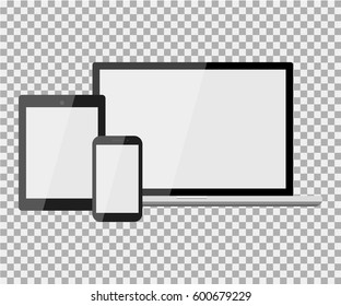 Set of realistic modern blank laptop, notebook, pad, phone on isolate background