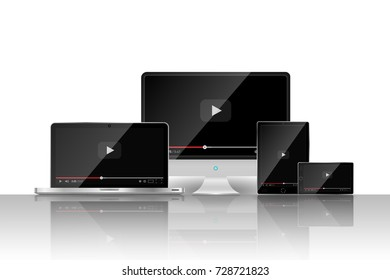 Set of realistic modern digital devices with reflections on white background. Video player template. Vector illustration