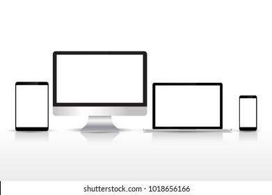 Set realistic Monitors laptop tablet