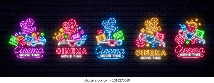 Set of realistic neon signs. Cinema banner, logo, emblem. Movie logo. Bright sign, night bright advertising. Vector Illustration.