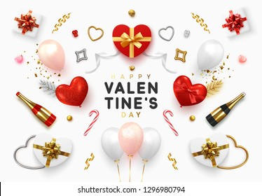 Set realistic objects isolated on white background. Elements gift box, balloons in the shape of hearts, a bottle of champagne, 3d hearts, chocolate candy, romantic tinsel and gold confetti