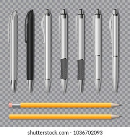 Set of Realistic office pens and pencil isolated on transparent background. Office stationery Blank white and black pen. Vector illustration