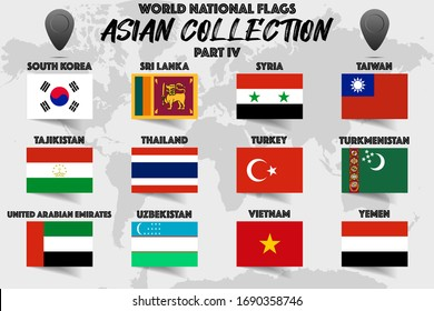 Set of realistic official world national flags, waving edition. isolated on map background. Objects, icons and symbol for logo, design. Asian Collection. Syria, Taiwan, Vietnam, Thailand, Yemen