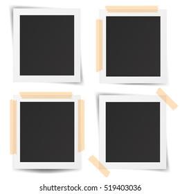 Set of realistic old photo frames isolated on white background. Vector illustration. EPS10