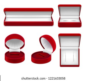 Set of realistic open red jewelry boxes for necklace bracelet ear rings or studs isolated vector illustration