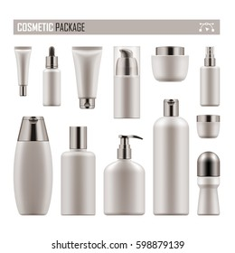 Set of realistic package for cosmetic product. Collection of white blank template of container, tube, bottle, spray. Vector mock-up of packages isolated on white background.