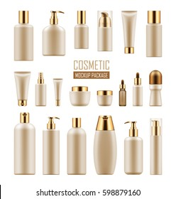 Set of realistic package for luxury cosmetic product. Collection of empty blank template of plastic containers with gold cap: bottle for liquid, skin care cream. Vector mockup of isolated on white