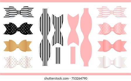 Set of realistic paper bows, pink, gold, white and black. Print and cut. Template of classic craft bow. Can be used for decoration gift boxes, cards, invitation. For baby shower, birthday party.