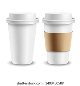 Set of realistic paper cup with shadow