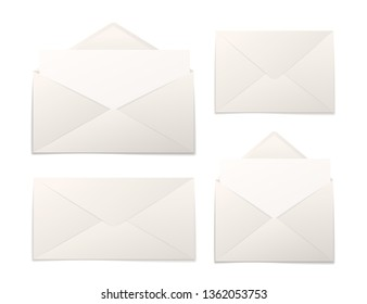 Set of realistic paper envelopes with sheets in different sizes isolated on white