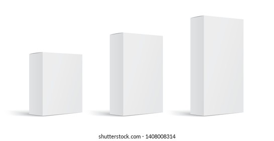 Set of realistic paper rectangular packaging boxes mockups isolated on white background. Vector illustration