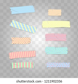Set Realistic Pastel Colour Washi Tape Vector Illustration