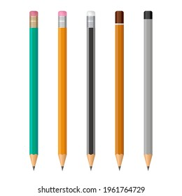 Set of realistic pencils with rubber eraser and without. Different wooden graphite sharp pencils. Sharpened lead pencils. Office stationery tools. Vector illustration.