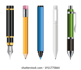 Set of realistic pens and pencils vector illustration isolated on white