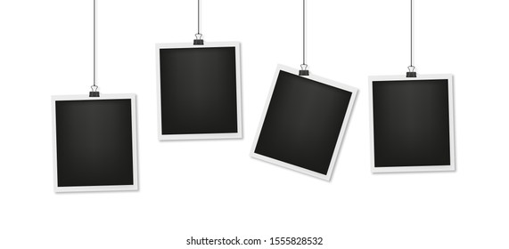 set realistic photo card with shadow, vector illustration