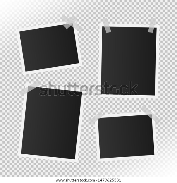 set of realistic photo frame with transparent adhesive tape. real size photo mock up for picture template. vector photo border. vintage photograph.