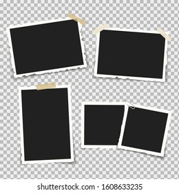 Set of realistic photo frames with retro shapes around the edges, on brackets and pieces of sticky adhesive tape and scotch tape. Vector illustration.
