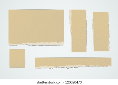 Set of realistic pieces ot torn brown paper. EPS10 vector design elements.