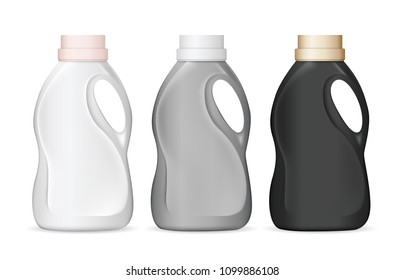 Set of realistic plastic bottles in different colors for liquid laundry detergent, bleach, fabric softener, dishwashing liquid or another cleaning agent. Vector illustration