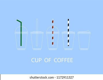 Set of realistic plastic coffee cup for drink with drinking straws and strawless.  Mock up template for cafe, food delivery tuck, restaurant identity , vector illustration.