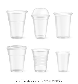 Set of realistic plastic disposable food glasses of various size on white background isolated vector illustration