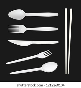 Set of realistic plastic forks, plastic knife , plastic spoon and plastic chopsticks vector