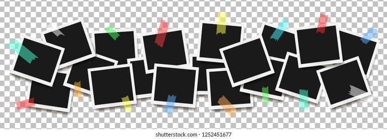 Set of realistic Polaroid square frames on sticky tape isolated on transparent background. Vector illustration