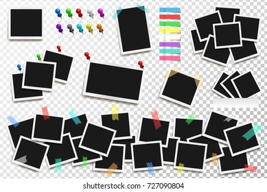 Set of realistic Polaroid square frames, pins and paper stickers on transparent background. Vector polaroid illustration