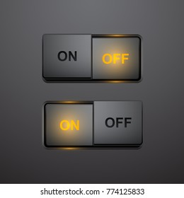 Set of realistic press button in on and off positions, vector button with light effect