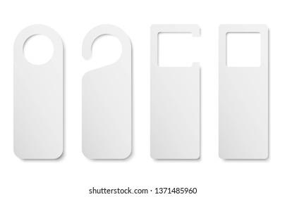 Set of realistic private door tag. Plastic paper door handle lock hangers. Empty blank mock up. Do Not Disturb. Template design for room in hotel, hostel, resort, home. Vector illustration